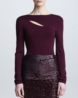 Donna Karan Long-Sleeve Slash Top, Claret