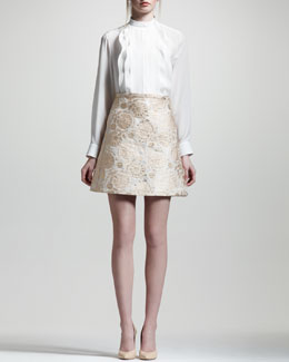 Chloe Metallic Jacquard Lampshade Skirt, Natural/Gold