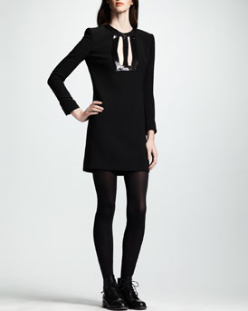 Saint Laurent Leather-Keyhole Dress, Noir
