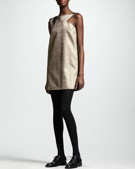 Saint Laurent Cut-In Metallic Shift Dress, Gold