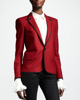 Saint Laurent Piped One-Button Blazer, Rouge