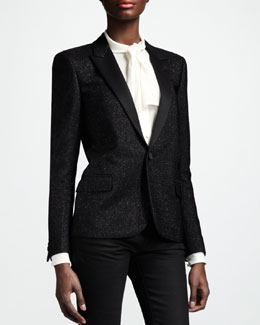 Saint Laurent Metallic One-Button Blazer, Noir