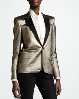 Saint Laurent Metallic One-Button Blazer, Gold
