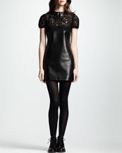 Saint Laurent Short-Sleeve Lace & Leather Dress