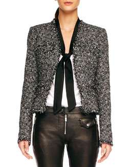 Michael Kors  Fringe-Trim Tweed Jacket