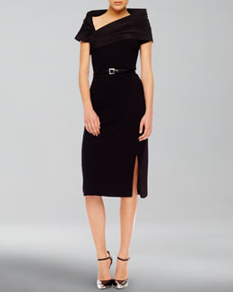 Michael Kors  High-Slit Crepe Dress