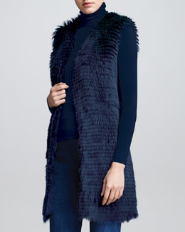 Ralph Lauren Collection Long Shearling Fur Vest, Dusty Blue