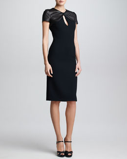 Ralph Lauren Collection Leather & Wool Crepe Dress, Black