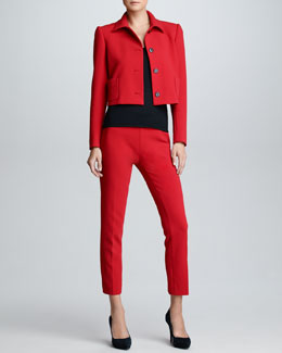 Ralph Lauren Black Label Cropped Wool Pants, Rouge