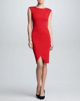 Ralph Lauren Black Label Cap-Sleeve Envelope Dress, Rouge