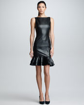Ralph Lauren Black Label Ruffled Leather Dress, Black