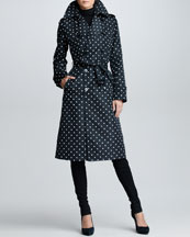 Ralph Lauren Black Label Polka-Dot Trench Coat, Black/Ivory