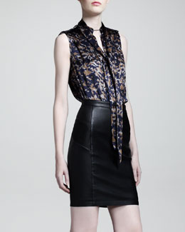 Belstaff Taverham Leather Biker Skirt