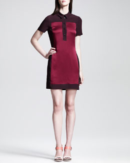 Victoria by Victoria Beckham Satin-Panel Polo Dress