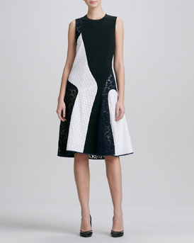 Derek Lam Sleeveless Colorblock Lace Combo Dress