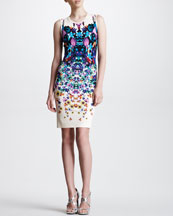 Roberto Cavalli Sleeveless Symmetric Floral-Print Dress, White/Multicolor
