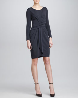 Armani Collezioni Draped Jersey Dress, Charcoal