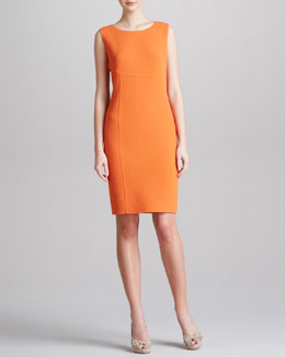 Armani Collezioni Striped Sleeveless Sheath Dress, Tangerine