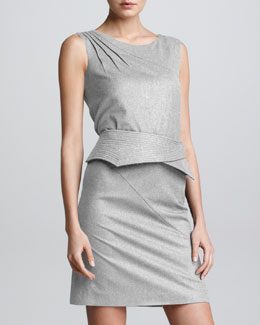 Armani Collezioni Stretch Trapunto Belt-Detail Dress, Gray