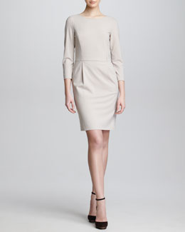 Armani Collezioni Three-Quarter-Sleeve Crepe Dress, Taupe