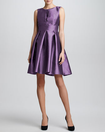 Sleeveless Doupioni Flare Dress, Grape