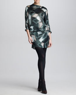 Armani Collezioni Cubist-Print Silk Satin Tunic Dress, Steel