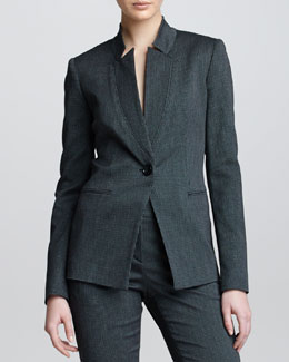 Armani Collezioni Inverted Lapel Check Flannel Suit Jacket, Steel