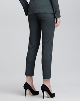 Armani Collezioni Cropped Check Flannel Suit Pants, Steel