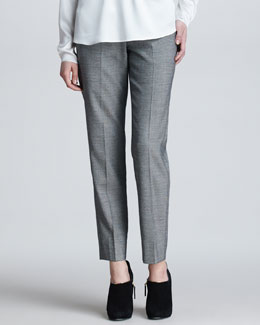 Armani Collezioni Cropped Flannel Suit Pants, Black/White