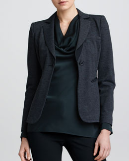 Armani Collezioni Fitted Jersey Jacket, Black