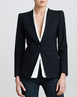 Armani Collezioni Detachable-Collar Jacket, Black
