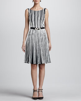 Oscar de la Renta Embroidered Zigzag Dress, Navy/Ivory