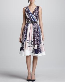 Oscar de la Renta Mixed-Print Silk Sleeveless Dress, Navy/Pink