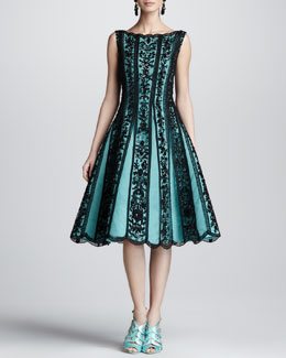 Oscar de la Renta Beaded Lace-Overlay Full-Skirt Dress