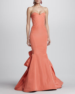 Oscar de la Renta Strapless Ruffle-Back Fishtail Gown