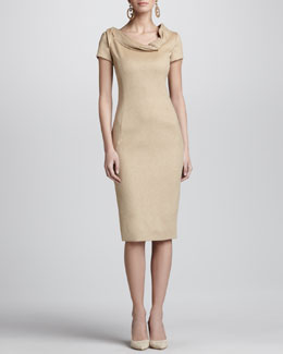Oscar de la Renta Cap-Sleeve Fold-Neck Sheath Dress, Camel