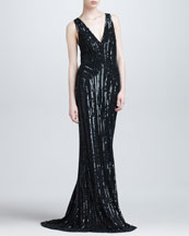 Elie Saab Sequined Plunging Evening Gown, Black