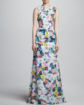 Erdem Long Floral-Print Dress