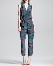 Thakoon Printed Tie-Belt Jumpsuit