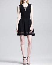 Thakoon Ribbed-Bodice Sheer-Band Dress
