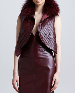 J. Mendel Fox Fur-Collar Leather Vest, Port