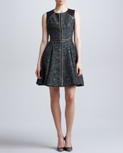 J. Mendel Leather-Trim Tweed Dress, Forest/Multi