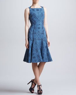J. Mendel Full Skirted Leafy Jacquard Dress, Blue Dusk