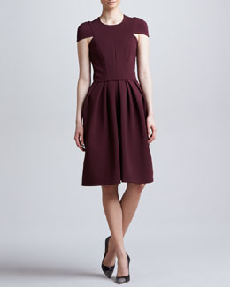 J. Mendel Seamed Cap-Sleeve Dress, Port