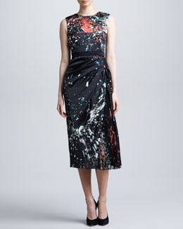 J. Mendel Splatter-Print Cady Dress, Black/Multicolor