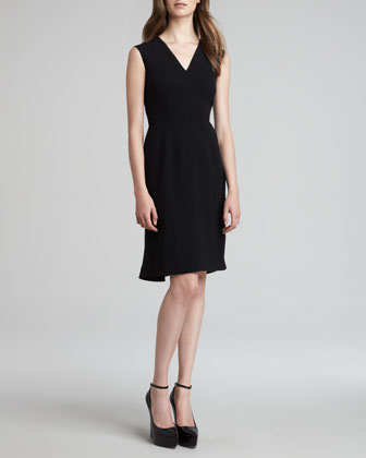 Crepe V-Neck Sleeveless Dress, Black