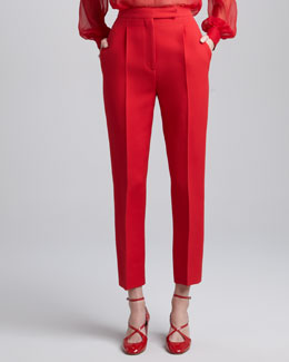 Valentino Straight-Leg Cropped Pants, Rosso