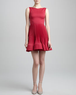 Valentino Plisse-Skirt Dress, Cassis