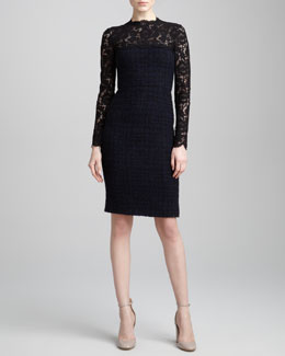 Valentino Lace-Yoke Tweed Boucle Dress, Blue/Black