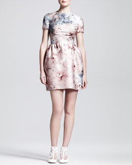 Valentino Floral-Print Mikado Short-Sleeve Dress